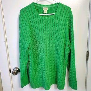L.L. Bean Green Cable Knit Crewneck Sweater